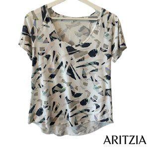 Aritzia Wilfred Geometric Pattern Short Sleeve Tee